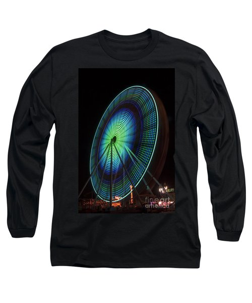 Ferris Wheel Lit Shades Of Green And Blue Long Sleeve T-Shirt
