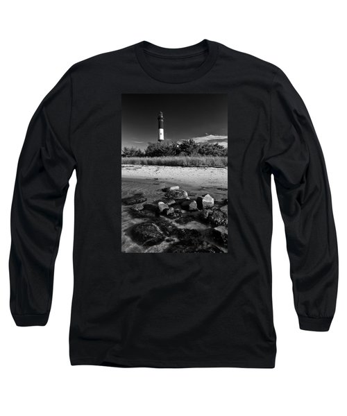 Fire Island In Black And White Long Sleeve T-Shirt