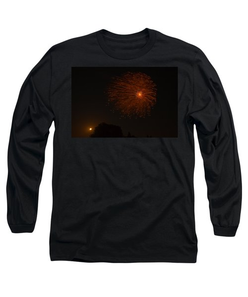 Long Sleeve T-Shirt featuring the photograph Fireworks And Wildfire Moon by Tom Gort