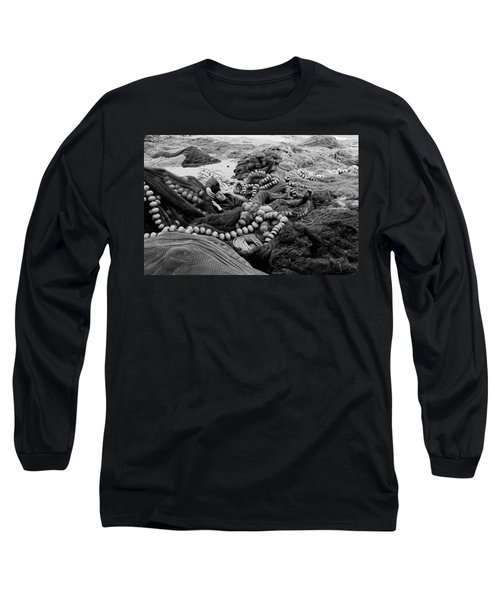 Fisherman Sleeping On A Huge Array Of Nets Long Sleeve T-Shirt