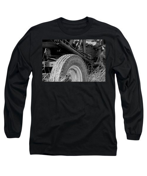 Long Sleeve T-Shirt featuring the photograph Ford Tractor Details In Black And White by Jennifer Ancker