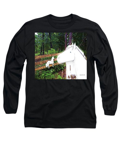 Long Sleeve T-Shirt featuring the drawing Ghost Horse by George Pedro