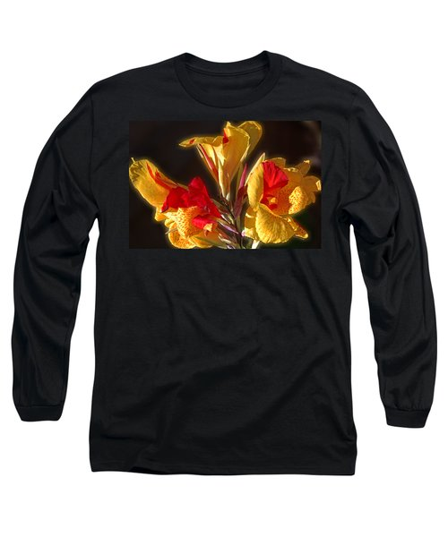 Long Sleeve T-Shirt featuring the photograph Glowing Iris by DigiArt Diaries by Vicky B Fuller