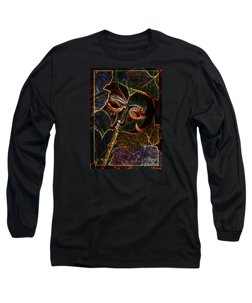 Glowing Mask With Leaves Long Sleeve T-Shirt by Nareeta Martin