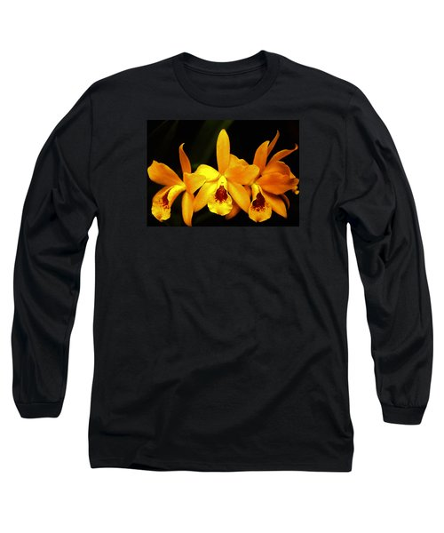 Long Sleeve T-Shirt featuring the photograph Golden Cattleya by Rosalie Scanlon