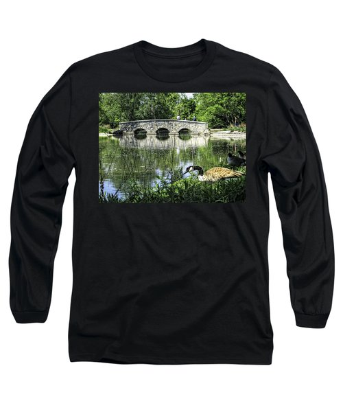 Long Sleeve T-Shirt featuring the photograph Goose And Bridge At Silver Lake by Tom Gort
