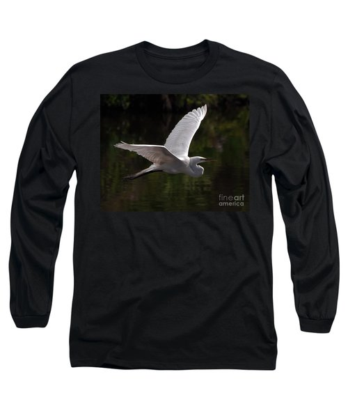 Great Egret Flying Long Sleeve T-Shirt