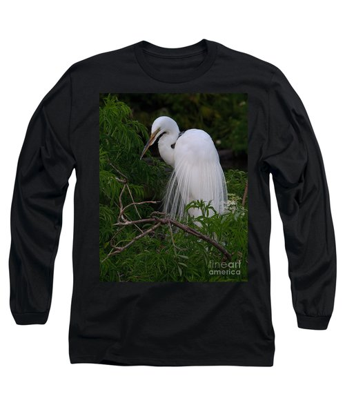 Long Sleeve T-Shirt featuring the photograph Great Egret Nesting by Art Whitton
