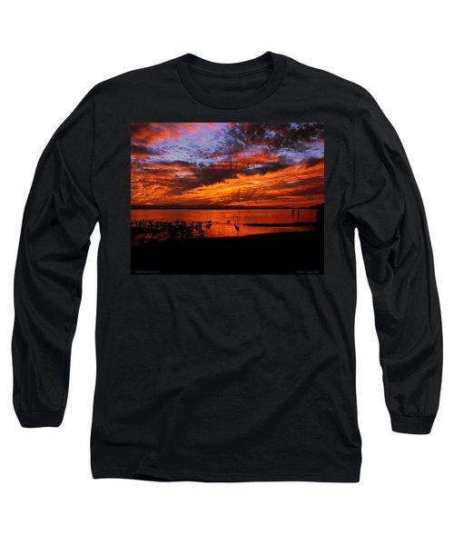 Great Heron Sunset Long Sleeve T-Shirt