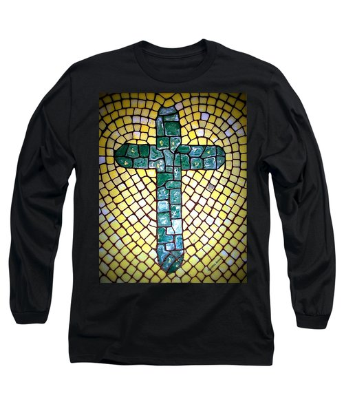 Long Sleeve T-Shirt featuring the painting Green Cross by Cynthia Amaral
