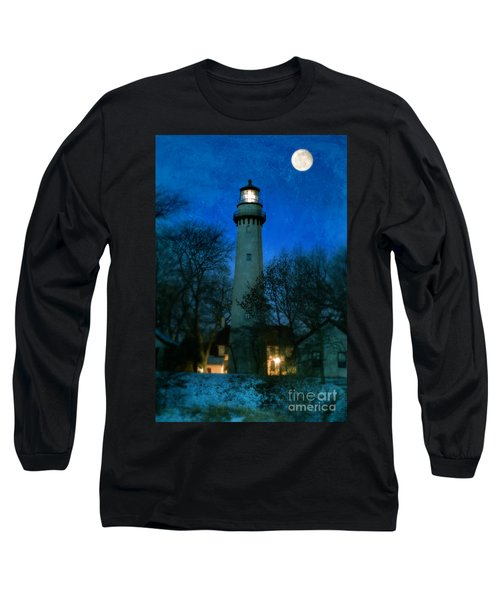 Grosse Point Lighthouse Before Dawn Long Sleeve T-Shirt