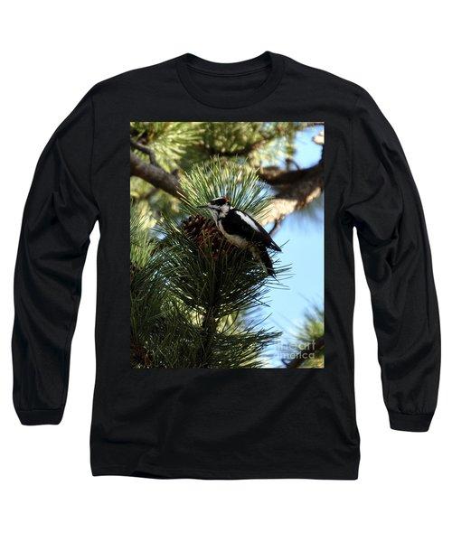 Hairy Woodpecker On Pine Cone Long Sleeve T-Shirt