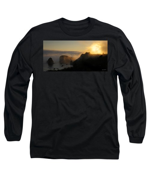 Harris Beach Sunset Panorama Long Sleeve T-Shirt by Mick Anderson