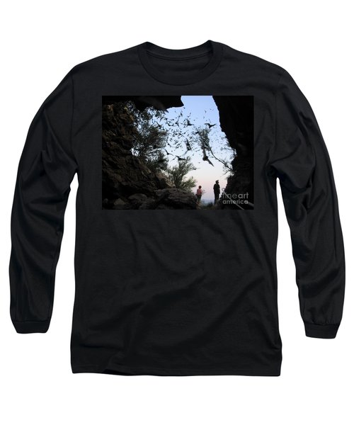 Inside The Bat Cave Long Sleeve T-Shirt by Mark Robbins