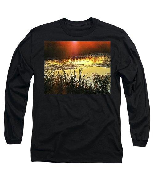Long Sleeve T-Shirt featuring the photograph Lacassine Sundown by Lizi Beard-Ward