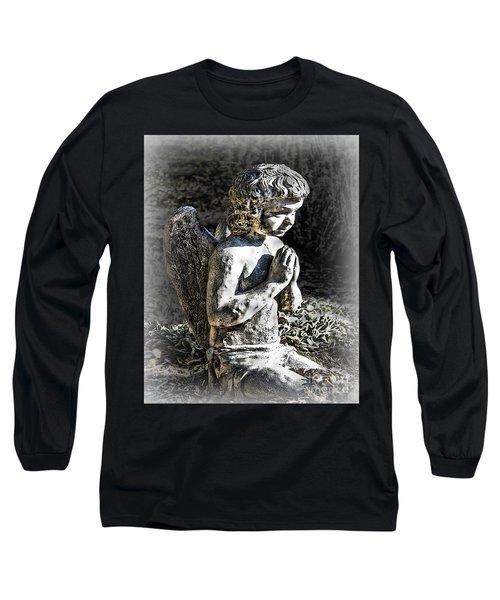 Little Angel Statue Long Sleeve T-Shirt by Danuta Bennett
