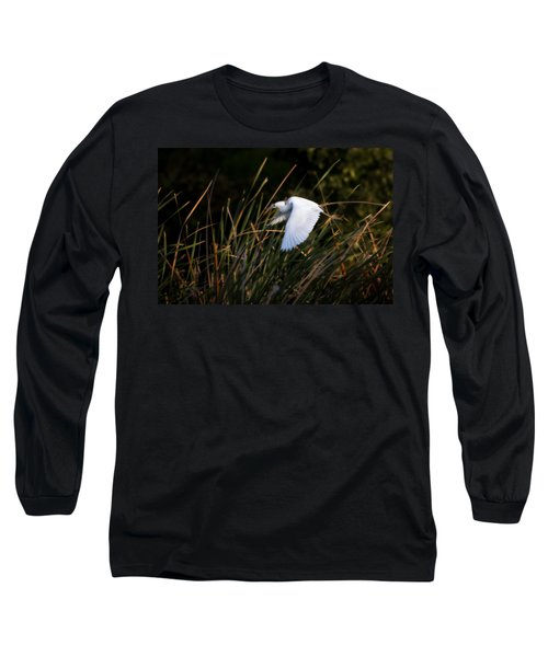 Long Sleeve T-Shirt featuring the photograph Little Blue Heron Before The Change To Blue by Steven Sparks