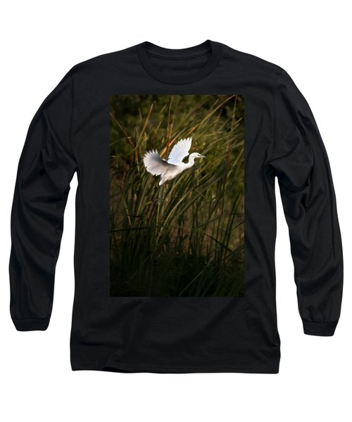Long Sleeve T-Shirt featuring the photograph Little Blue Heron On Approach by Steven Sparks