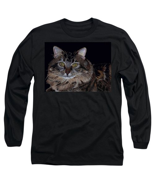 Little Girl - Maine Coon Cat Painting Long Sleeve T-Shirt