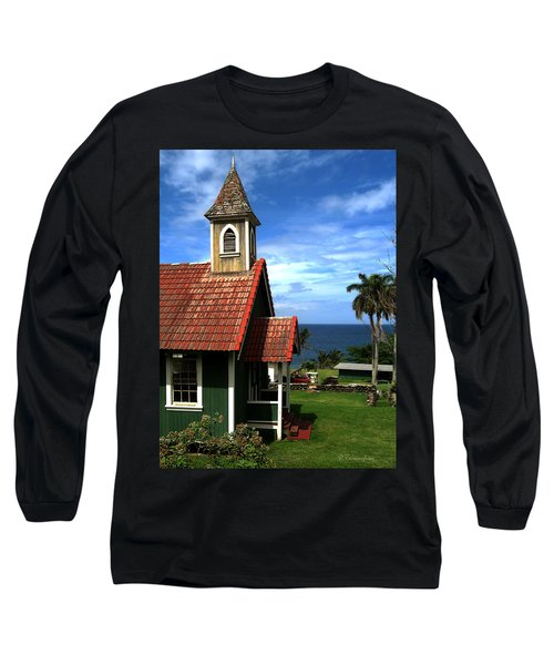 Little Green Church In Hawaii Long Sleeve T-Shirt by Dorothy Cunningham
