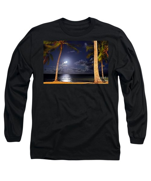Maceio - Brazil - Ponta Verde Beach Under The Moonlit Long Sleeve T-Shirt