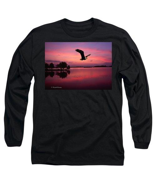 Long Sleeve T-Shirt featuring the photograph Mauve Sundown Eagle  by Randall Branham