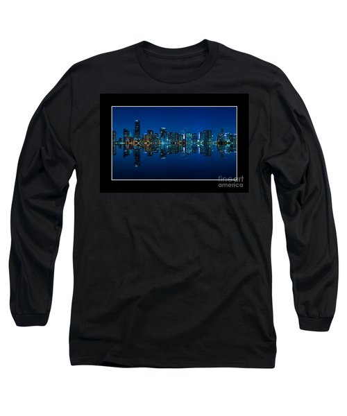 Long Sleeve T-Shirt featuring the photograph Miami Skyline Night Panorama by Carsten Reisinger