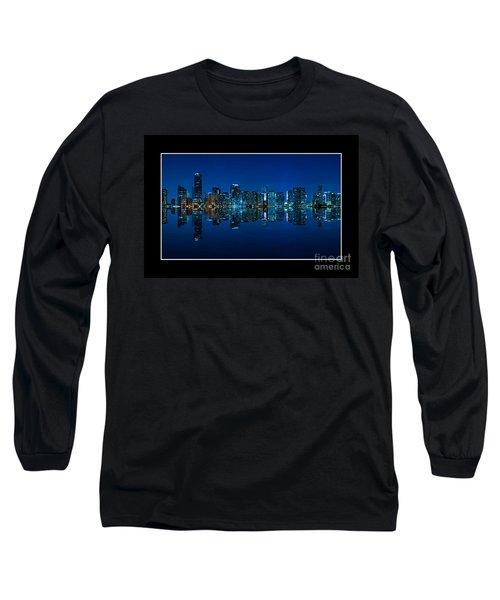 Miami Skyline Night Panorama Long Sleeve T-Shirt by Carsten Reisinger