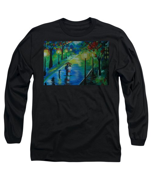 Long Sleeve T-Shirt featuring the painting Moonlight Stroll Series 1 by Leslie Allen
