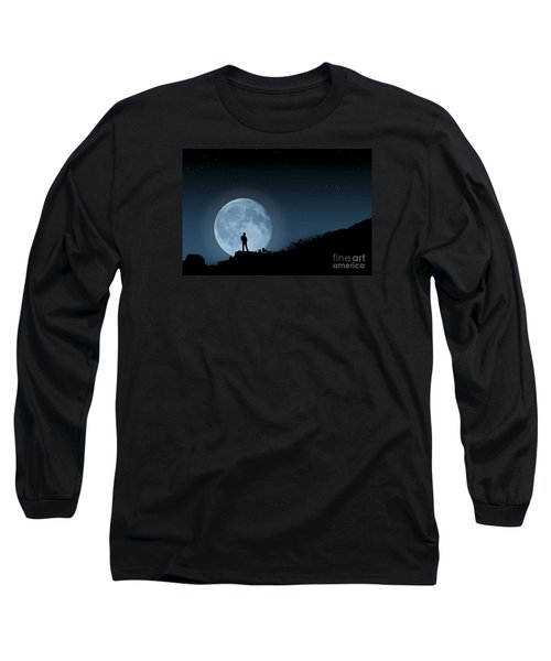 Long Sleeve T-Shirt featuring the photograph Moonlit Solitude by Steve Purnell