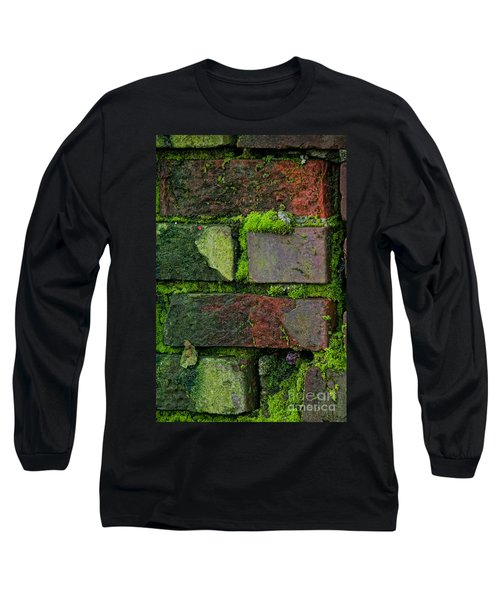 Long Sleeve T-Shirt featuring the digital art Mossy Brick Wall by Carol Ailles