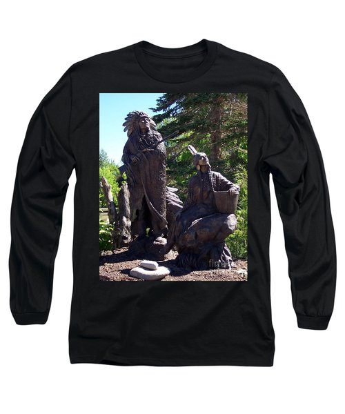 Long Sleeve T-Shirt featuring the photograph Native American Statue by Chalet Roome-Rigdon