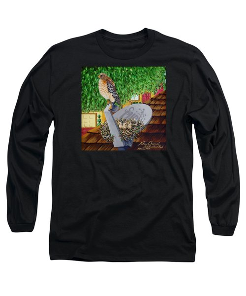 Nature Channel- Red Shouldered Hawk Long Sleeve T-Shirt by Katherine Young-Beck