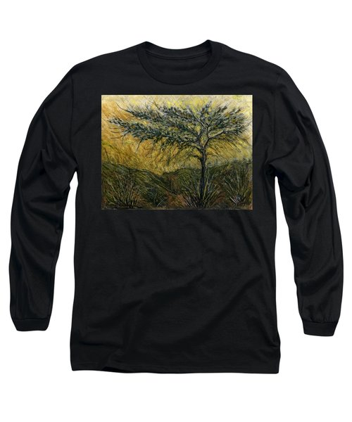 Nature Landscape Green Thorns Acacia Tree Flowers Sunset In Yellow Clouds Sky  Long Sleeve T-Shirt by Rachel Hershkovitz