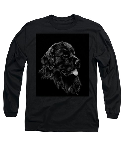 Long Sleeve T-Shirt featuring the drawing Newfoundland by Rachel Hames