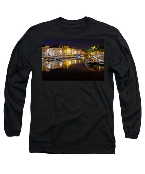 Nighttime Along The River Leie Long Sleeve T-Shirt