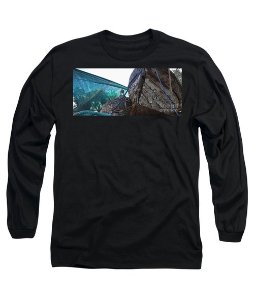 Long Sleeve T-Shirt featuring the photograph Old Boat And Flagons by Andy Prendy