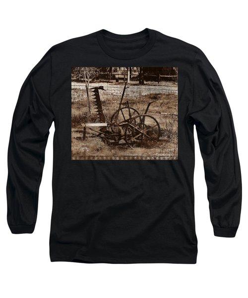 Long Sleeve T-Shirt featuring the photograph Old Farm Equipment by Blair Stuart
