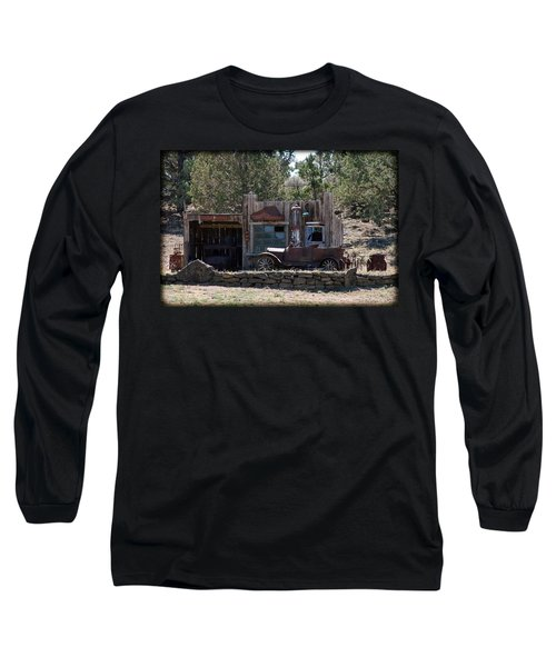 Old Filling Station Long Sleeve T-Shirt by Athena Mckinzie