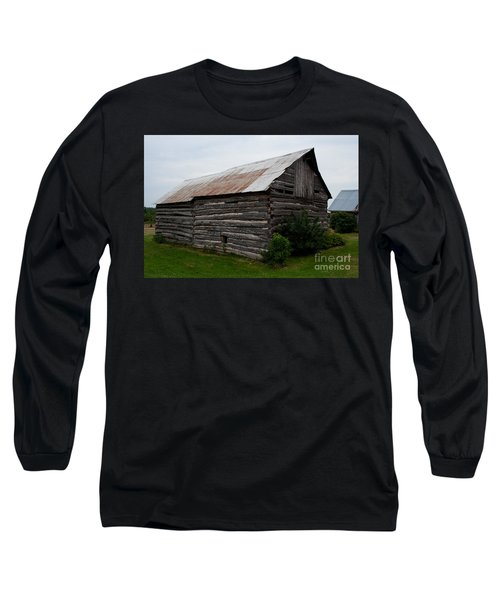Long Sleeve T-Shirt featuring the photograph Old Log Building by Barbara McMahon