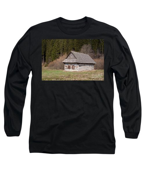 Long Sleeve T-Shirt featuring the photograph Old Log House by Les Palenik