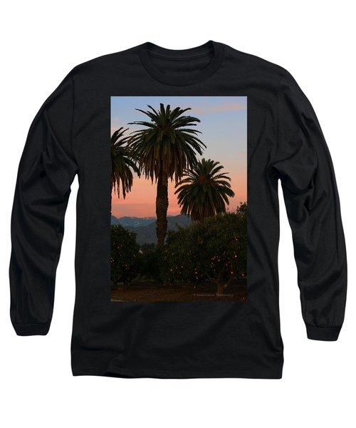 Palm Trees And Orange Trees Long Sleeve T-Shirt