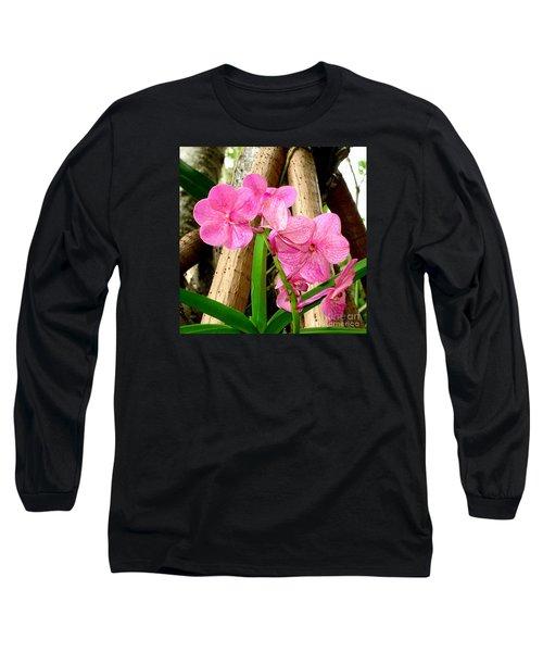 Pink Hawaiian Orchid Long Sleeve T-Shirt