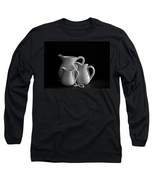 Long Sleeve T-Shirt featuring the photograph Pitchers By The Window In Black And White by Sherry Hallemeier