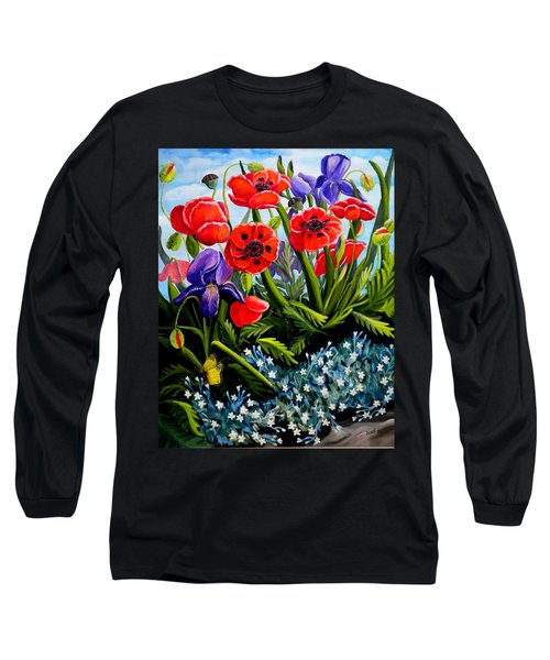 Poppies And Irises Long Sleeve T-Shirt by Renate Nadi Wesley