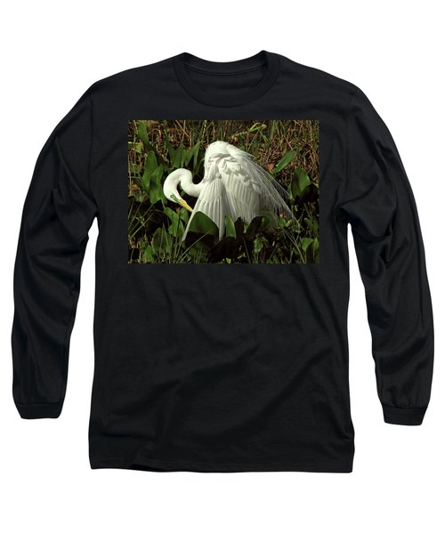 Preening Egret Long Sleeve T-Shirt