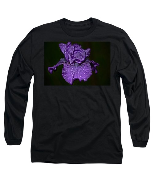 Purple Iris With Water Drops Long Sleeve T-Shirt