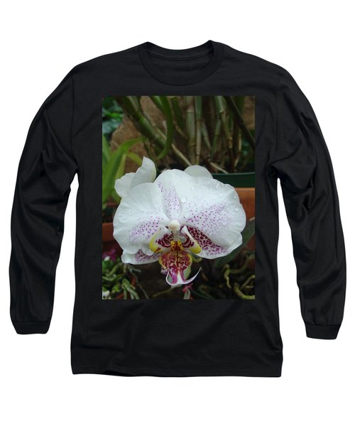 Rain Drops On Orchid Long Sleeve T-Shirt