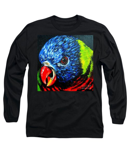 Long Sleeve T-Shirt featuring the painting Rainbow Lorikeet Look by Julie Brugh Riffey