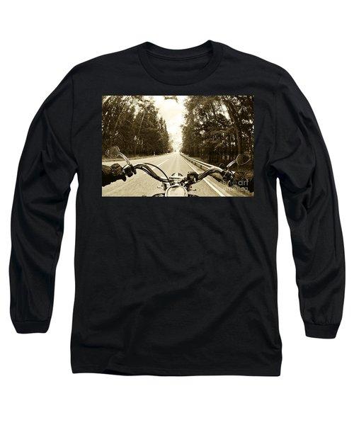 Riders Eye Veiw In Sepia Long Sleeve T-Shirt by Micah May